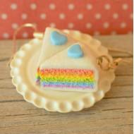 Duhové třpytivé dortíky s modrými srdíčky