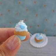 Modré muffiny se srdíčky